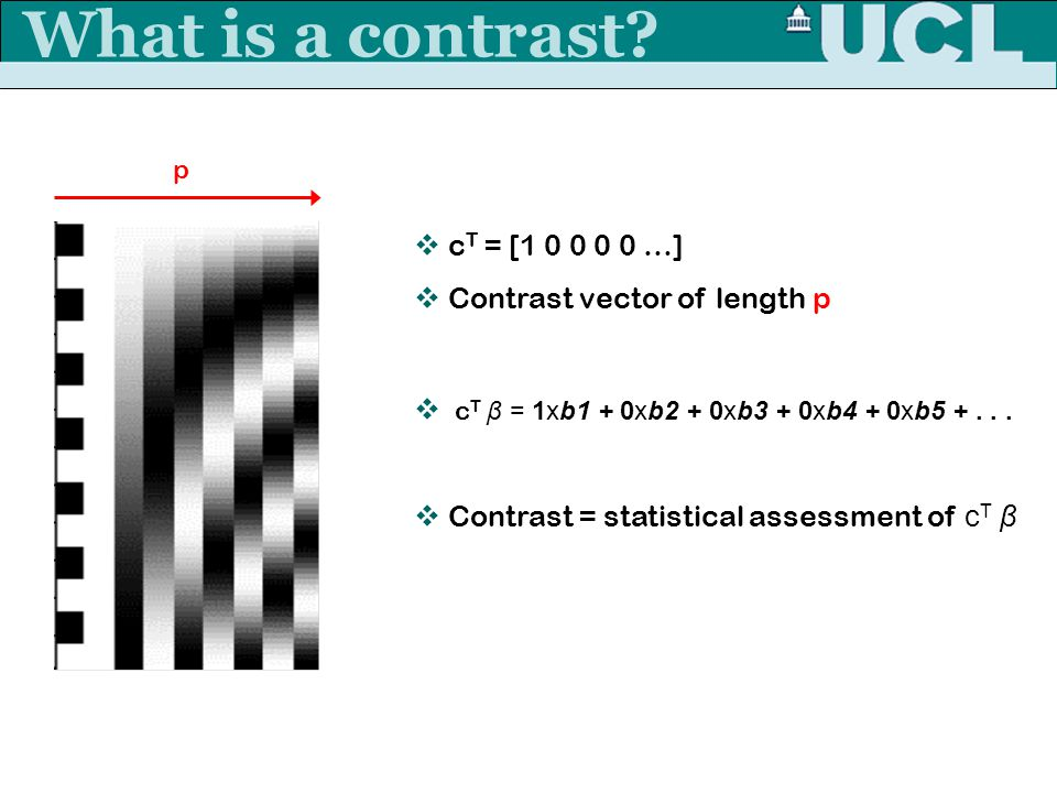 What is a contrast cT = [1 0 0 0 0 …] Contrast vector of length p